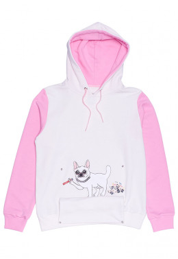 ХУДИ JOINT HOODIE HAPPY DOGGY (White/Pink)